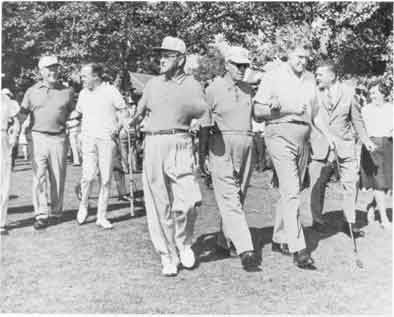 Bob Hope and George Fazio (partly shaded) escort defending blind golf champion Charley Boswell of Birming� ham, Ala., at left, while Gov. Raymond P. Shafer and Ralph Ebing guest PGA Professional flank Charles Tooth