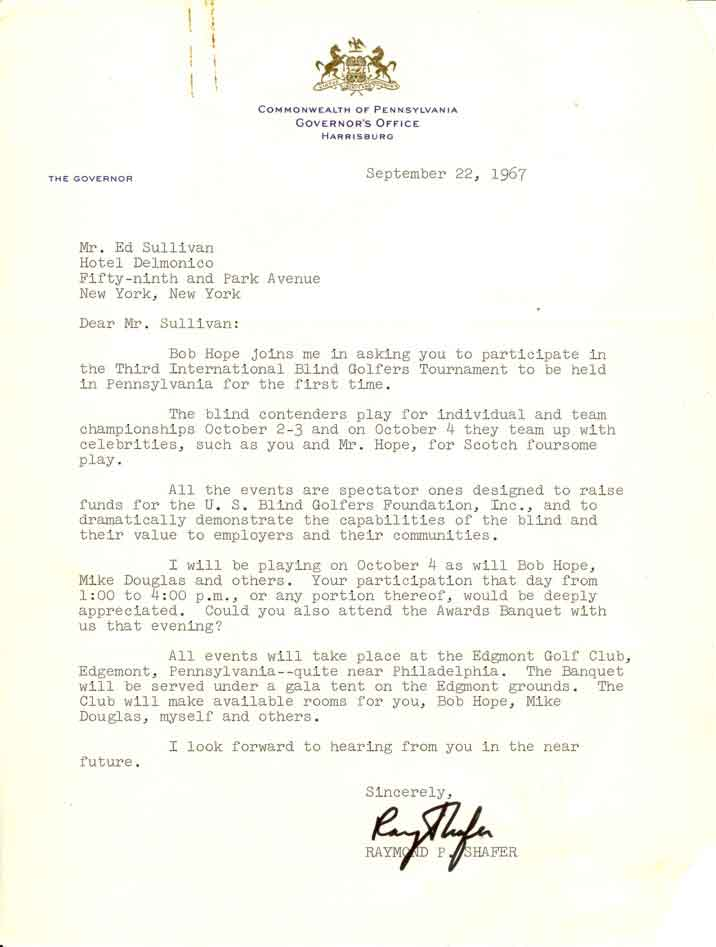 letter from Pa Govenor Raymond P. Shaferletter to Ed Sullivan inviting him to celiberity/blind fund raiser